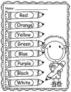 Color Words FREEBIE Kindergarten Preschool learning
