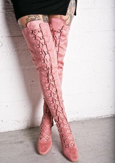 Love Story Thigh-High Boots we just wanna romance ya the old fashioned way, babe~ These gorgeous thigh-high boots feature a lovely dusty rose vegan suede construction, comfy padded interior, tapered toe, covered block heel, full length lace-ups with sleek silver O-ring detailing, and side zip closure for a slim, chic look.
