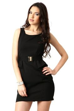 Sleeve Less Black Solid Dress
