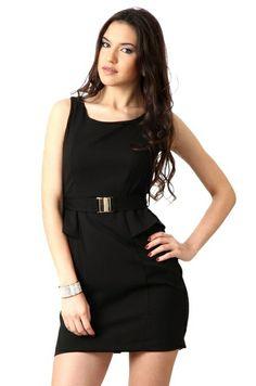 Sleeve Less Black Solid Dress