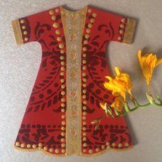 Wood painting wood object red kaftan ahsap boyama dekoratif obje handmade design