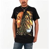 Bob Marley & Lion Profiles Men's T-Shirt in Black  I Bob Marley Shop