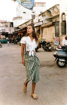 simple summer style - white shirt, striped skirt and slides