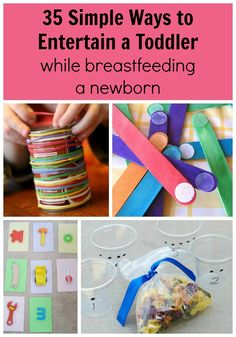 The ultimate list of ways to entertain a toddler while breastfeeding a newborn! So helpful for when baby #2 comes along and you need to keep your first kid occupied while feeding or nursing your infant.