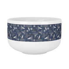 Gray Sailboats & Suns on Navy Blue Nautical Print Soup Bowl With Handle