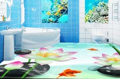 54.98$  Watch here - http://aliigj.worldwells.pw/go.php?t=32672149939 - papel pintado customized 3d flooring The lotus pond wallpaper 3d floor tiles for bathrooms 3d floor room wallpaper landscape