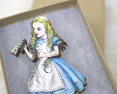 Got this for my birthday and LOVE it! Alice in Wonderland Pin Brooch Drink Me Wooden Wood