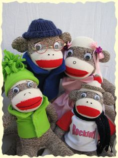 The Sockmonkey Family: Ed, Doris, Lisa Loo, and Junior