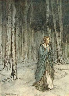 The Lady Enters.  An Arthur Rackham illustration for Comus, a masque by John Milton.