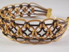 Brown and Gold Leather Macrame Bracelet. $15.00, via Etsy.