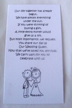 50 Small Wedding Gift Poem Cards asking for Money Bride & Groom 1