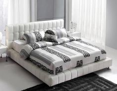 leather bed and fun sheets!