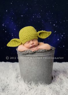 Yoda hat by Newblet Knittings.  LOVE their stuff.