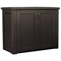 Rubbermaid 24.5-in L X 46-in W 122.8-gallon Dark Teak Resin Deck Box 1889849