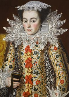 Attributed to William Larkin PORTRAIT OF A LADY, HALF-LENGTH, WEARING AN ELABORATELY EMBROIDERED WAISTCOAT WITH RED AND YELLOW RIBBONS, LACE COLLAR AND LACE CAP, HOLDING A PRAYER BOOK