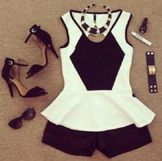 Black and white peplum with black shorts, beautiful heels and amazing accessories. What could be better?