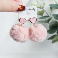 White/Pink/Grey/Red Sweet Heart Plush Earrings The clothing culture is very old. Jewelry Design Earrings, Ear Jewelry, Cute Earrings, Cute Jewelry, Beautiful Earrings, Gold Earrings, Diamond Jewelry, Heart Earrings, Kawaii Jewelry