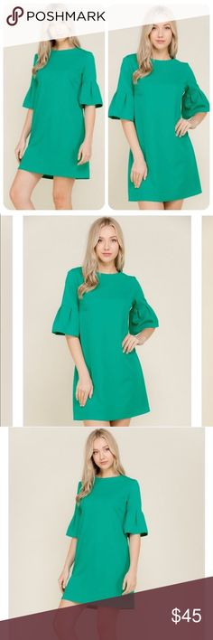 Pleated Sleeve Shift Dress NWT  Solid s/s box pleat bell sleeve shift dress Round neck, invisible back zipper closure  Model is 5'9 shown in size S Size S length is 35  Made In: USA  Ships this weekend Dresses