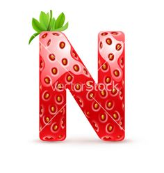 Tasty alphabet Strawberry summer font type letter N vector by Dvarg on VectorStock®