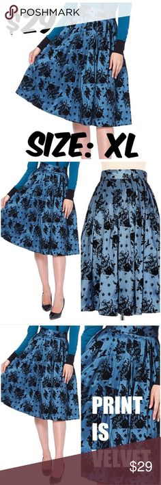 """Pin Up Clothing Bird Skirt Voodoo Vixen Blue WAIST: 32"""" CONDITION: USED. VERY GOOD. NO RIPS OR STAINS. Voodoo Vixen Skirts A-Line or Full"""