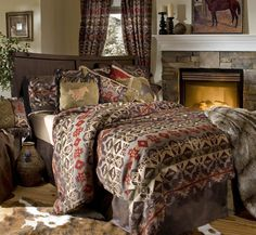 Cozy up to Cabela's selection of bedding sets and bedspreads. Shop camo bedding sets, quilted comforters, comforter sets and more for you to relax in. Rustic Comforter Sets, Southwestern Bedding, Thing 1, Simple Bed, Western Decor, Western Cowboy, Montana Western, Western Style, Cozy Bed