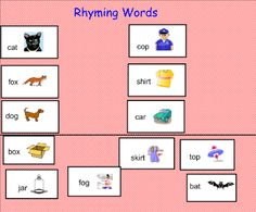 Rhyming Words - Children will match rhyming words. There is a template at the end that teachers can clone and make their own pages. This is a good CIRCLE activity also.  Resource type: SMART Notebook lesson  Subject: Other,  English Language Arts  Grade: Pre-Kindergarten,  Kindergarten,  Grade 1,  Grade 2,  Grade 3