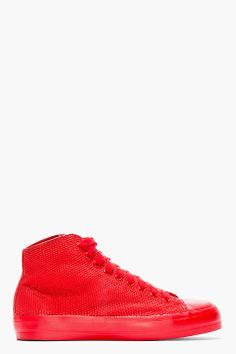 CHRISTIAN PEAU //  Red Lizardskin High-Top Sneakers  32526M050001  High top lizardskin sneakers in red. Round toe. Red lace up closure with red eyelets. Rubber cap toe. Tonal leather lining. Tonal stitching. Varanus salvator upper, rubber sole. Made in Japan.  $525 CAD