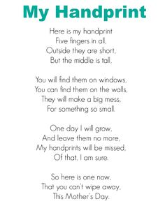 My Handprint Mother's Day Poem Mothers Day Poems, Daughter Poems, Mother Poems, Childcare Activities, Craft Activities For Kids, Craft Ideas, Teaching Activities, Activity Ideas, Preschool Ideas