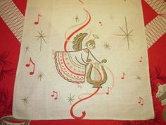 Vintage Christmas Towel Pink Angel Plays a by unclebunkstrunk, $39.99