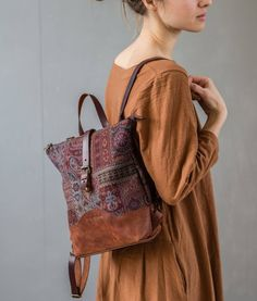 Tapestry Leather Backpack Plum for Women, Boho Laptop Bag, City Leather Rucksack, Tapestry HandbagHandmade Leather Canvas Bags and Tapestry Backpacks by MariaSoloveyStore Boho Rucksack, Laptop Rucksack, Laptop Bag, Leather Backpack Purse, Luggage Backpack, Small Backpack, Moda Boho, Tapestry Bag, Boho Bags
