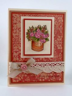 Dusty Pink Geraniums by BeckyTE - Cards and Paper Crafts at Splitcoaststampers Craft Flowers, Flower Crafts, Pink Geranium, Ink Stamps, Geraniums, Dusty Pink, Handmade Cards, Card Ideas, Paper Crafts