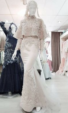 New Dress Hijab Brokat Party Ideas Muslim Wedding Gown, Malay Wedding Dress, Muslimah Wedding Dress, Popular Wedding Dresses, Muslim Wedding Dresses, Muslim Dress, Bridal Dresses, Bridesmaid Dresses, Gown Wedding