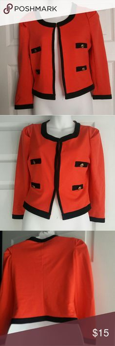 Love culture corral cover up jacket size small Super cute coral jacket with black trim and gold anchor buttons.  Great condition Size small Love Culture Jackets & Coats Blazers