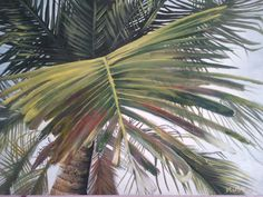 painting of palm leaf with acrylic colors on canvas by SireyArts, $300.00