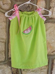 Watermelon pillowcase dress by MonogramBoutiqueMS on Etsy, via Etsy.