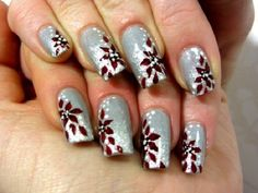 Red poinsettias on snow holiday nail designs, winter nail designs, winter n Red And Silver Nails, Silver Nail Art, Red Nail Art, Nail Art Diy, Red Nails, New Nail Art Design, Simple Nail Art Designs, Best Nail Art Designs, Nails Design
