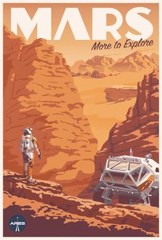 Space Frontier Check Out This Fantastic Poster For The Martian's IMAX Release - Starting yesterday, The Martian is being screened in IMAX theaters across the country. To accompany the release, there's a new poster, and it's a beauty. Art Vintage, Vintage Space, Vintage Art Prints, Poster Art, Kunst Poster, Poster Prints, Gig Poster, Design Poster, Flyer Design
