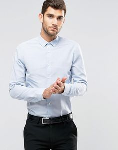 "ASOS | ASOS WeddingShirt In Blue Marl With Long Sleeves In Regular Fit at ASOS Our model wears a size Medium and is 188cm/6'2"" tall"