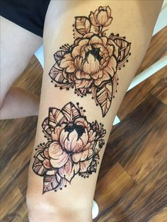 Peony henna tattoo for the summer!  inspired by: @hennabyang on insta