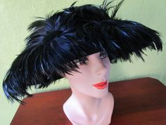 Couture Rachel Trevor-Morgan Neiman Marcus  Plume Covered Hat Derby Church England by FabulousVintageHats on Etsy