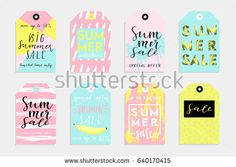 Summer set of sale and gift tags, labels with fun elements, hand drawn lettering and textures kit. Collection with palm tropical leaves, plants, banana, lemon, pineapple and much more.