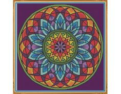 Mandala 3 - Window - Counted Cross Stitch by HornswoggleStore, $5.00 (geometric, colorful, yoga, zen, rainbow, abstract, medallion)