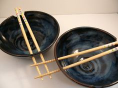Two Ceramic Noodle Bowls in Moody Blue / Rice by BlueSkyPotteryCO, $75.00