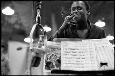 "Miles Davis, NYC, 1958 © DON HUNSTEIN, 1958.  This portrait of Miles Davis was taken by Don Hunstein at the 30th Street Studios in New York in July 1958 during the recording of ""Porgy and Bess."""