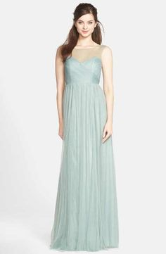 Jenny Yoo 'Aria' Illusion Yoke Pleated Tulle Gown