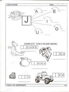 Atividades de Alfabetização para Educação Infantil Para Imprimir - Como Faço Jaba, Diagram, Blog, Sites, Gabriel, Harry Potter, Literacy Activities, Letter J Activities, Abc Centers