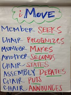 iMove - How to make a motion using parli pro.  Member SEEKS Chair RECOGNIZES Member MAKES Another SECONDS Chair STATES Assembly DEBATES Chair PUTS Chair ANNOUNCES. by TeamTRI's Abby Bergeron