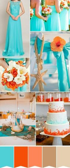 Turquoise and orange- Wedding Color Scheme