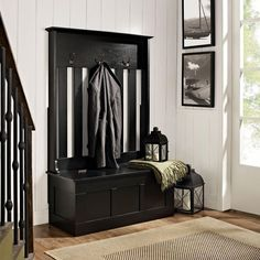 Black Polished Wooden Narrow Entryway Bench With Storage And Three Metal Hooks On Laminate Flooring. Nice Collection Of Narrow Entryway Bench To Bring Beautiful Looks Hall Tree Storage Bench, Hall Tree Bench, Entryway Storage, Entryway Organization, Entryway Furniture, Bench With Storage, Home Furniture, Hidden Storage, Furniture Stores