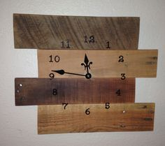 """Clock made from reclaimed pallet wood.   Measures: 13 1/2""""x 16 1/2"""""""